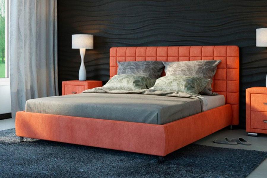 Рыжая мягкая кровать в мягкой ткане