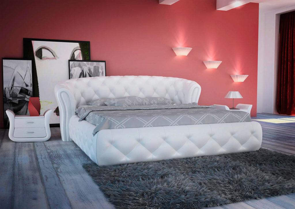 Белая кутаная кровать с полукруглым изголовьем