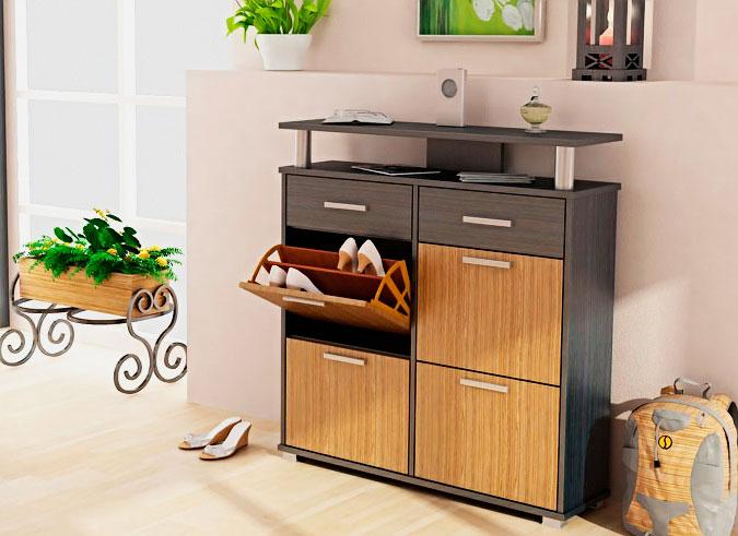 Фото обувницы с откидной системой хранения обуви, выдвижными ящиками и столешницей