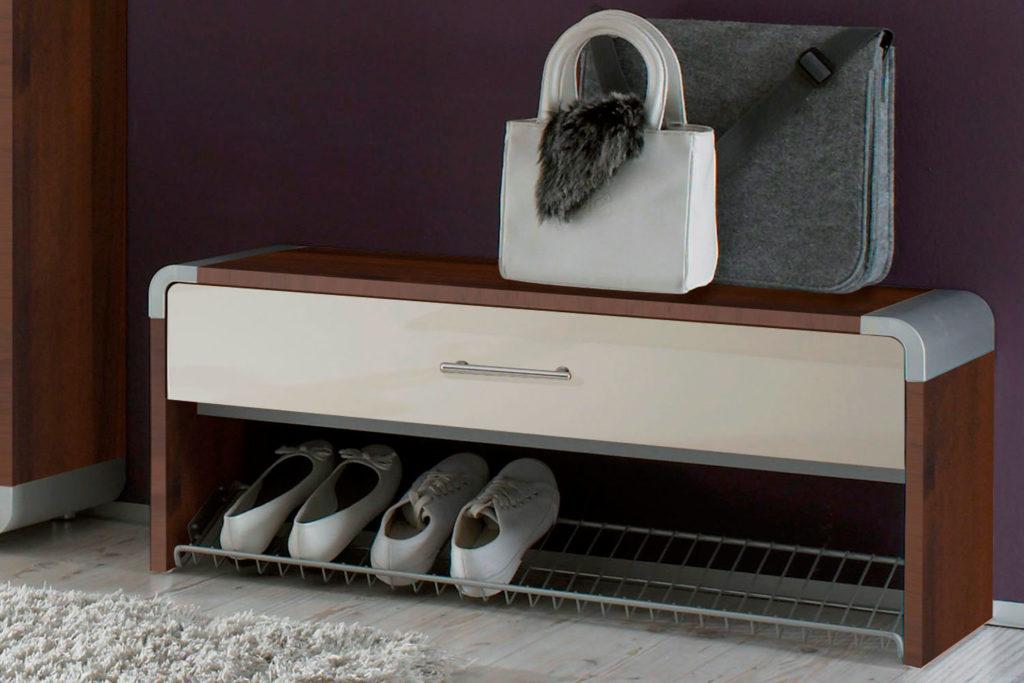 Банкетка с полкой для обуви и жестким сидением