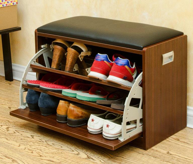 Обувница с мягким сидением и откидной системой хранения обуви