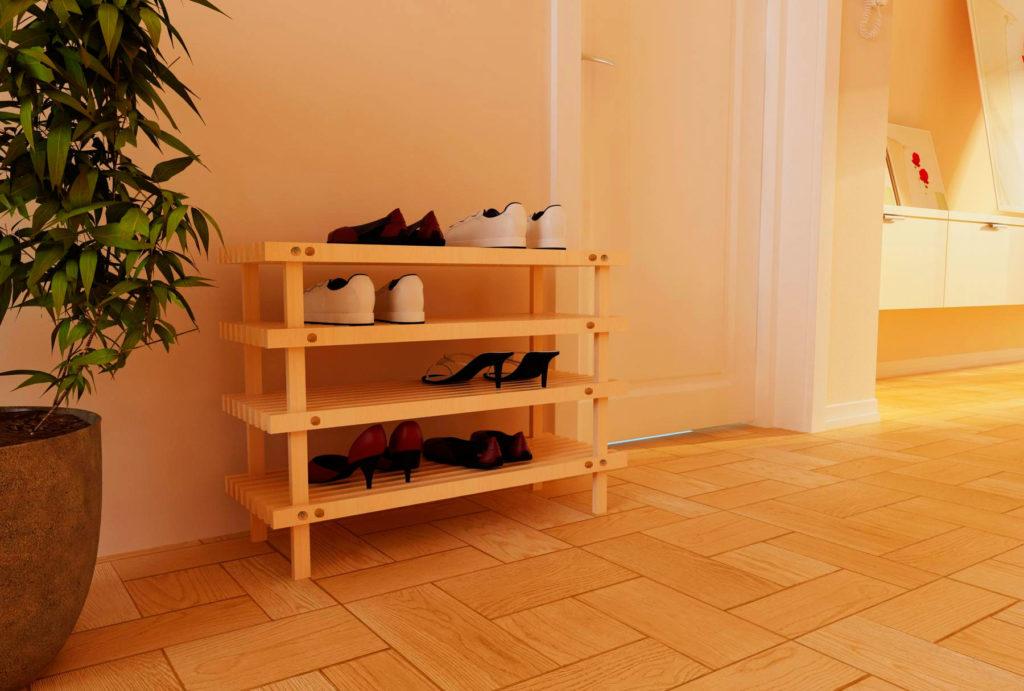 Фото обувной многоярусной подставки под обувь в прихожей