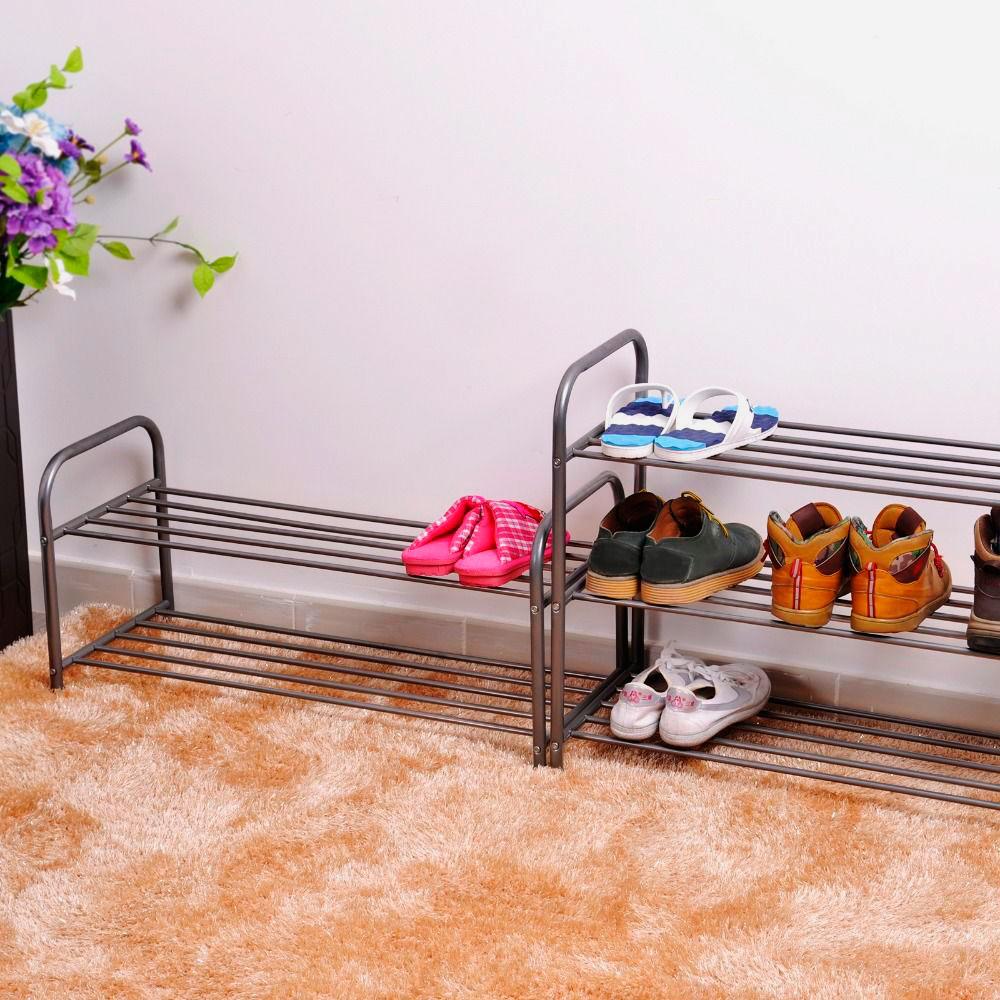 Металлическая обувная подставка в интерьере