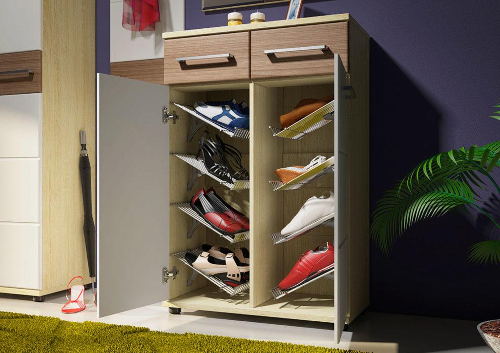 Фото внутреннего наполнения обувницы с решеткой