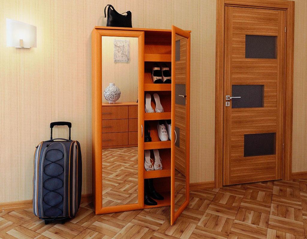 Фото обувного шкафа с зеркальными фасадами