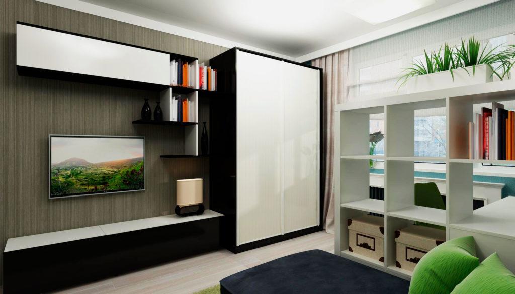 Шкаф купе в интерьере гостиной комнаты