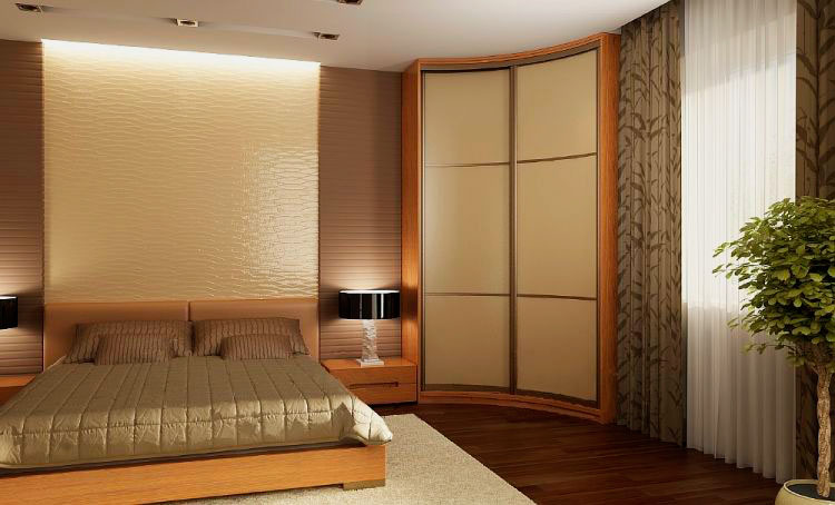 Шкаф-купе полукруглой формы огибающий угол комнаты