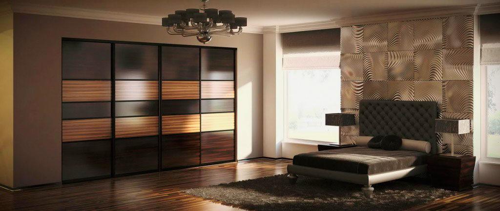 Фото интерьера спальной комнаты со встроенным шкафом купе