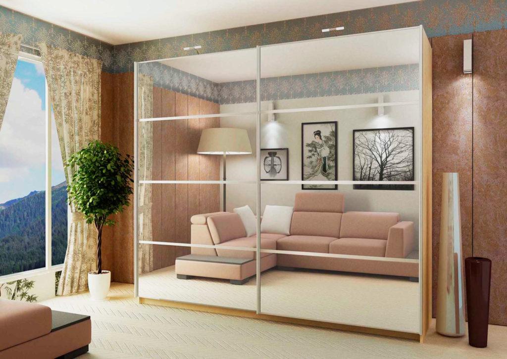 Двустворчатый шкаф с раздвижными дверьми с зеркальными фасадами