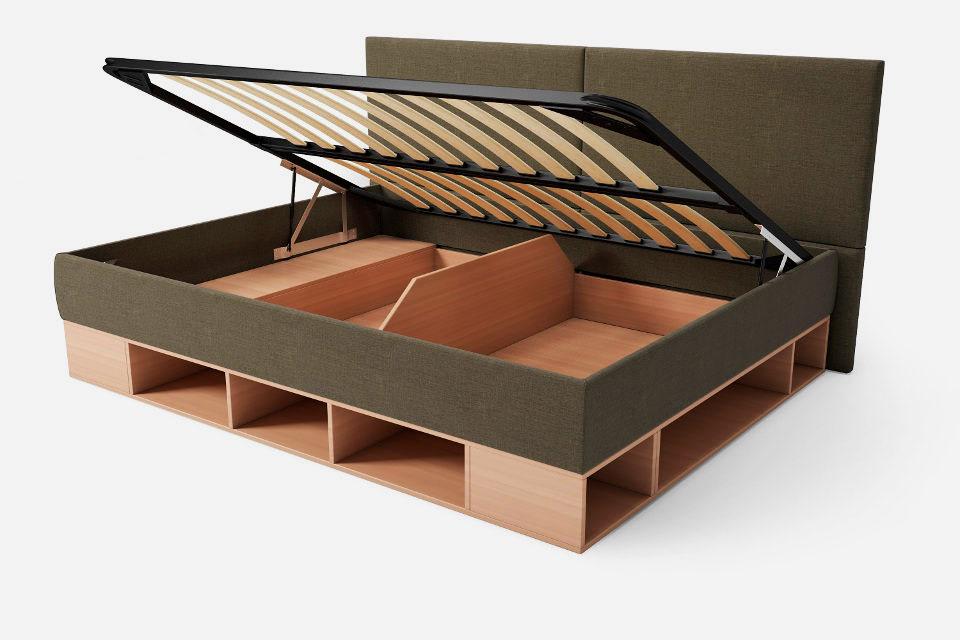 Двуспальная кровать с боковой спинкой и подъёмным основанием