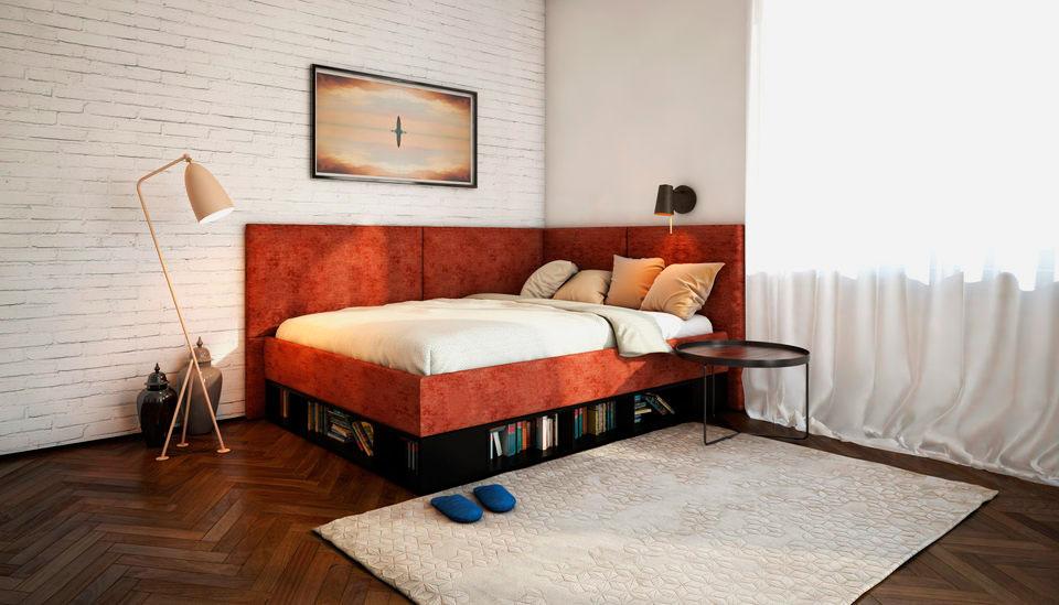 Фото кровати с мягкой угловой спинкой и полочками для книг под основанием