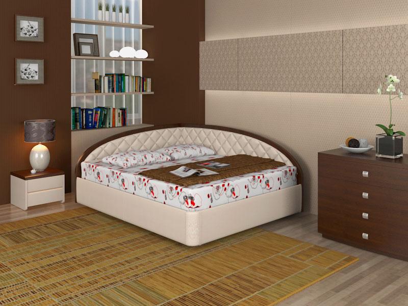 Двуспальная кровать с мягким угловым изголовьем