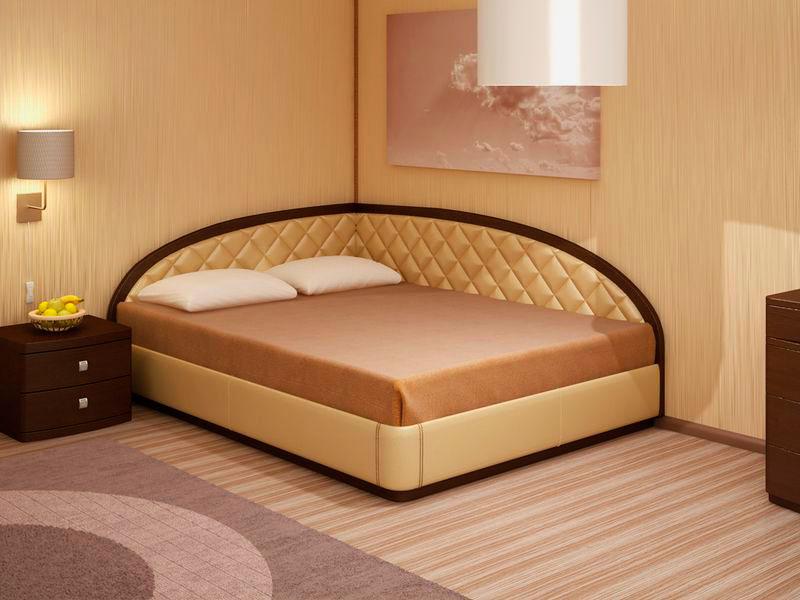 Фото двуспальной кровати с угловым изголовьем