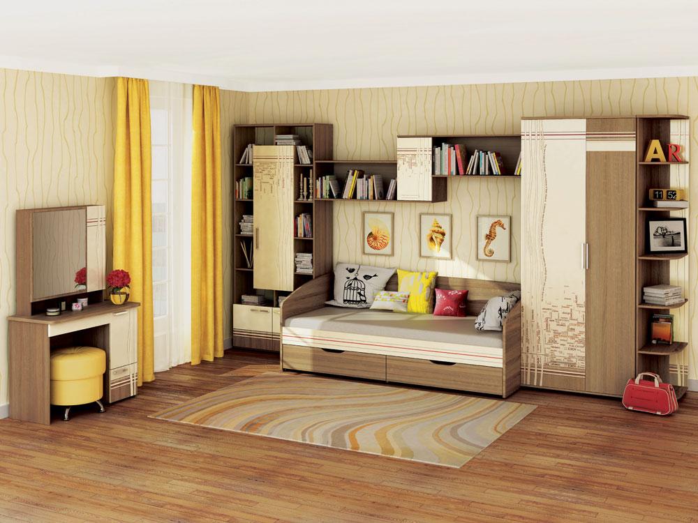 Комплект модульной мебели в интерьере детской комнаты