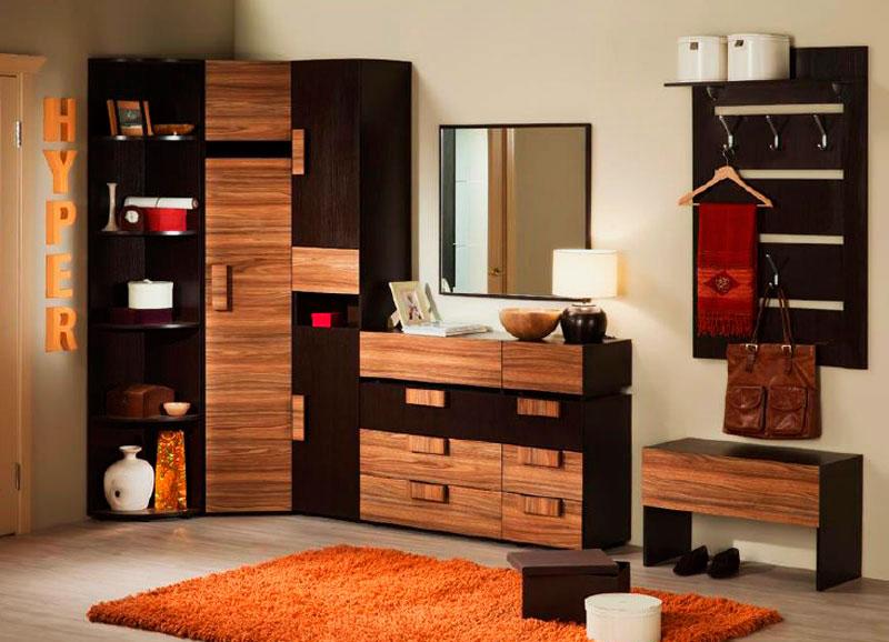 Модульный комплект мебели в прихожую с угловым шкафом