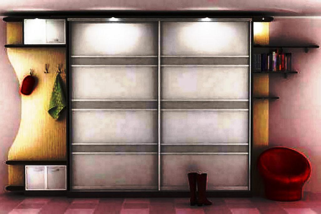 Шкаф купе для прихожей с боковыми угловыми приставными модулями и подсветкой
