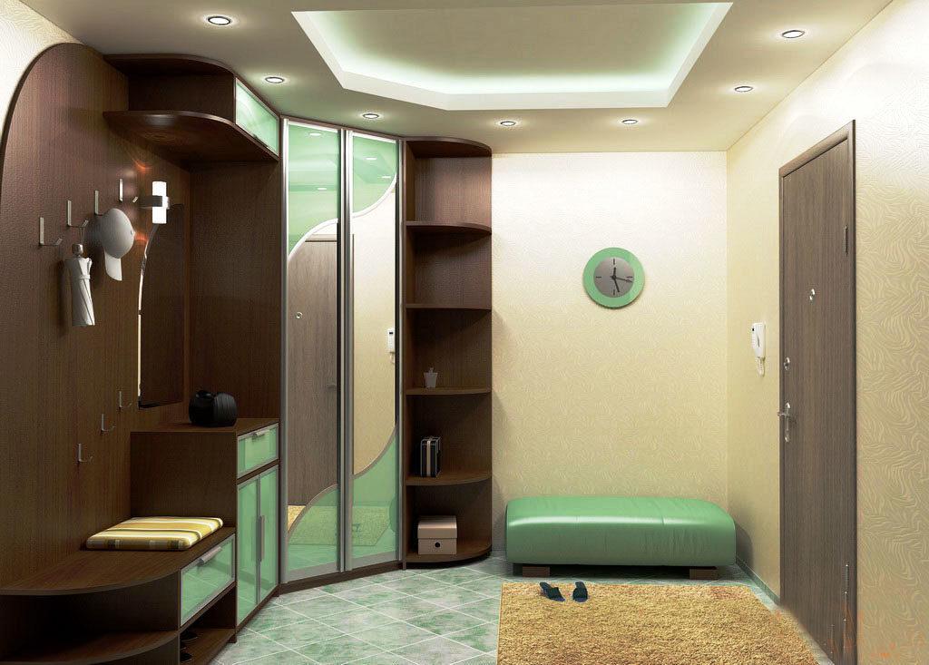 Угловой мебельный гарнитур для прихожей со шкафом купе