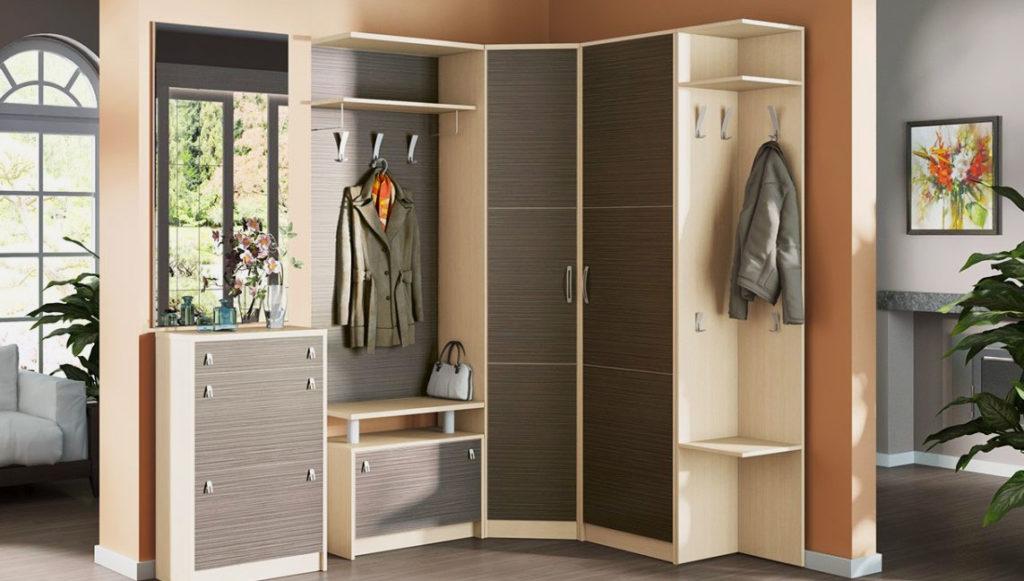 Модульный комплект мебели для прихожей с угловым шкафом