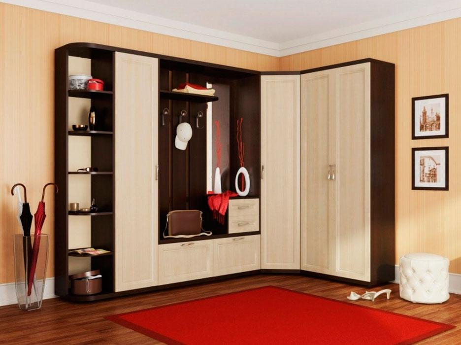 Модульная угловая прихожая со шкафами с распашными дверцами