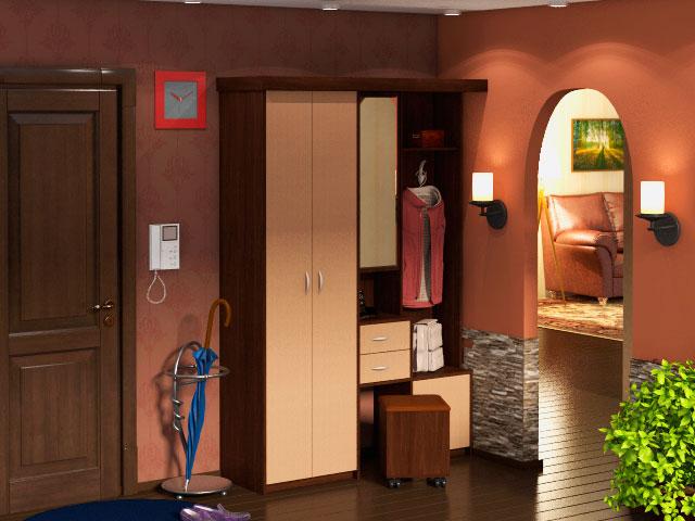 Компактная мебель для прихожей с распашным шкафом
