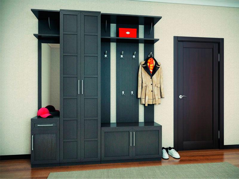 Мебельный гарнитур в интерьере прихожей с вешалкой для одежды и шкафом с распашными дверьми