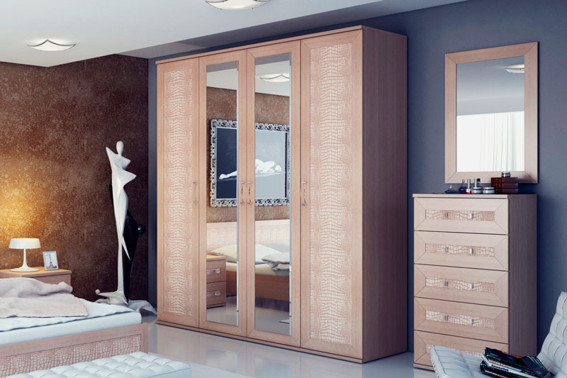 Шкаф с распашными дверцами в интерьере спальной