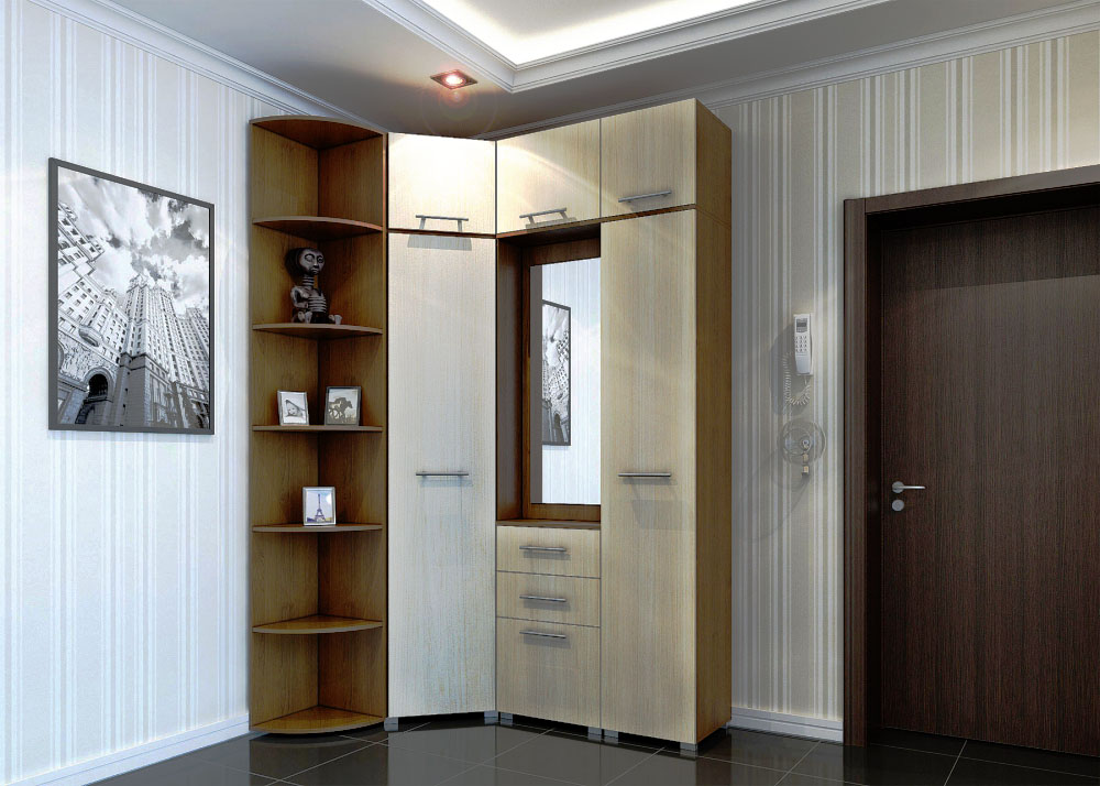 Фото углового мебельного гарнитура со шкафами с распашными дверьми в интерьере прихожей
