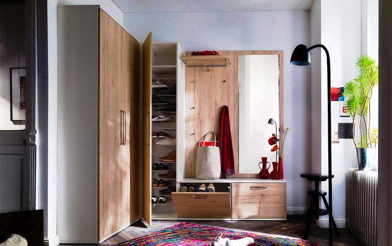 Фото угловой прихожей с распашными дверьми