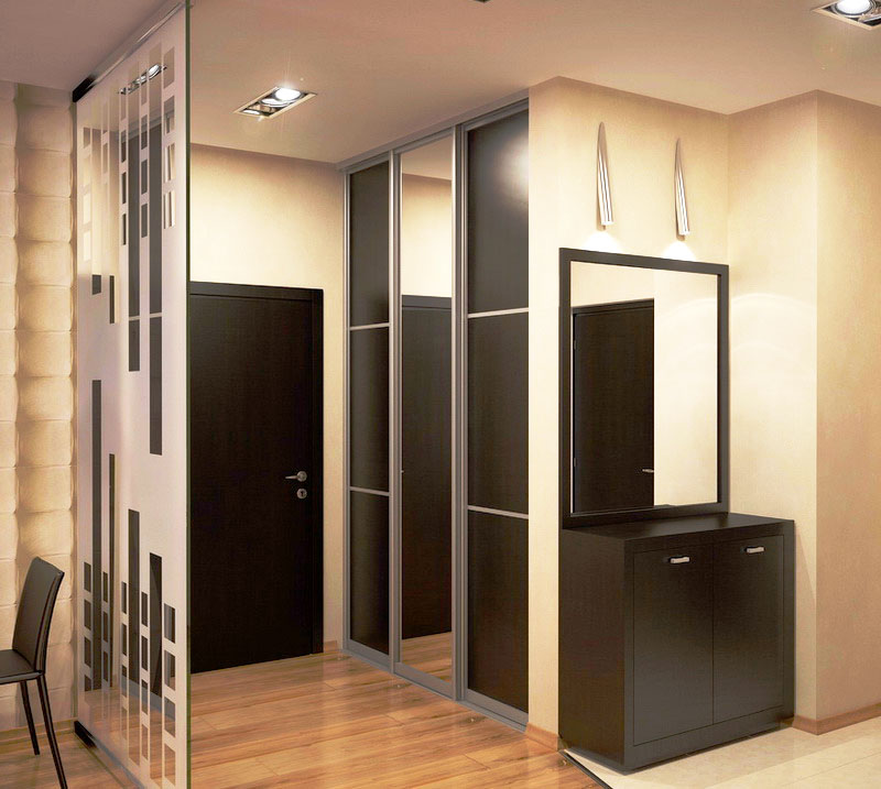 Встроенный шкаф в интерьере прихожей квартиры студии