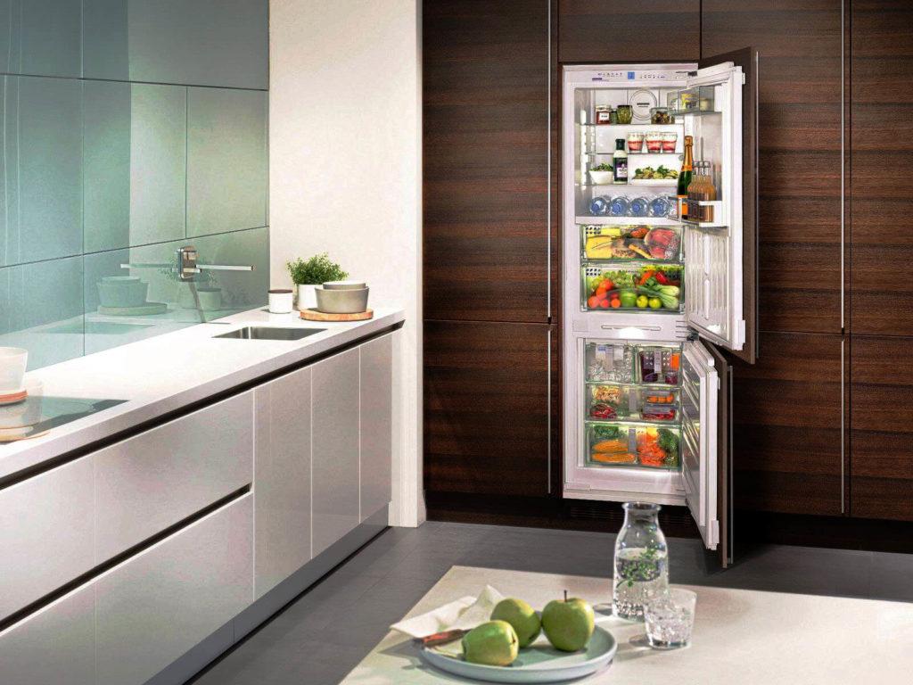 Кухня со встроенным холодильником прикрытым мебельным фасадом