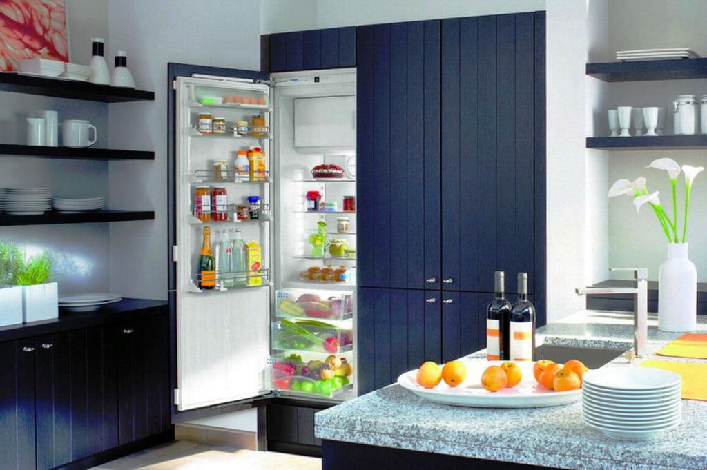 Кухня с встраиваемым холодильником с навесным мебельным фасадом