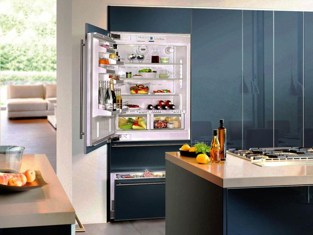 Фото холодильника встроенного в шкаф кухонного гарнитура