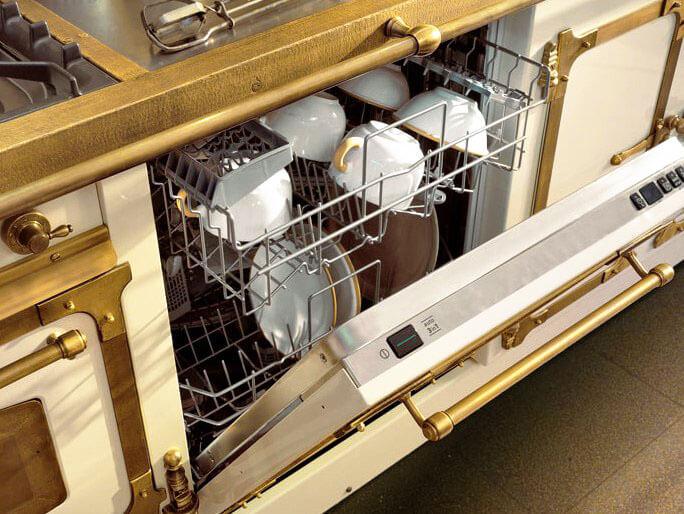 Встроенная посудомоечная машина в кухонный гарнитур классического мебельного стиля