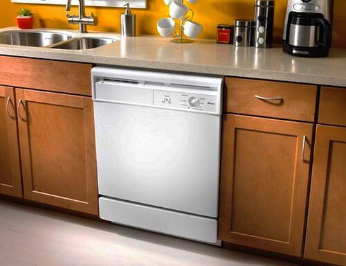 Фото частично встроенной посудомоечной машины
