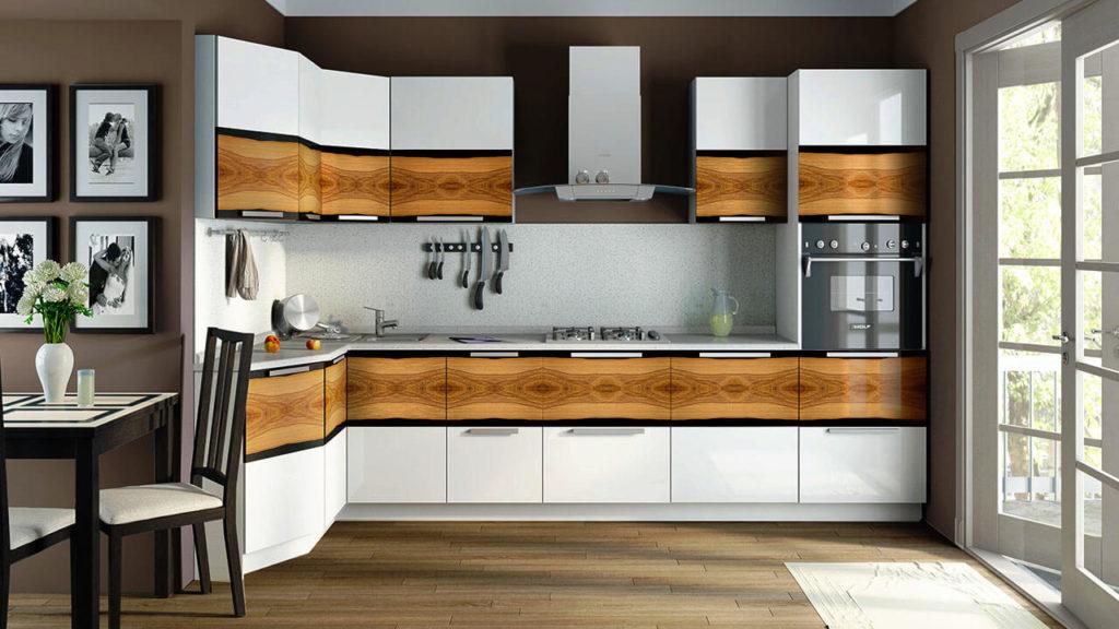 Фото кухонного гарнитура с пеналом со встроенной бытовой техникой