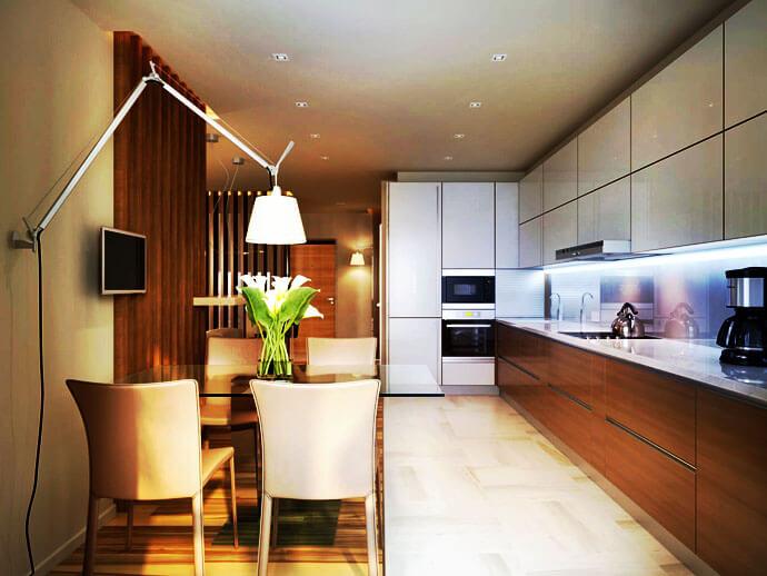 Кухня с пеналами со встроенной техникой