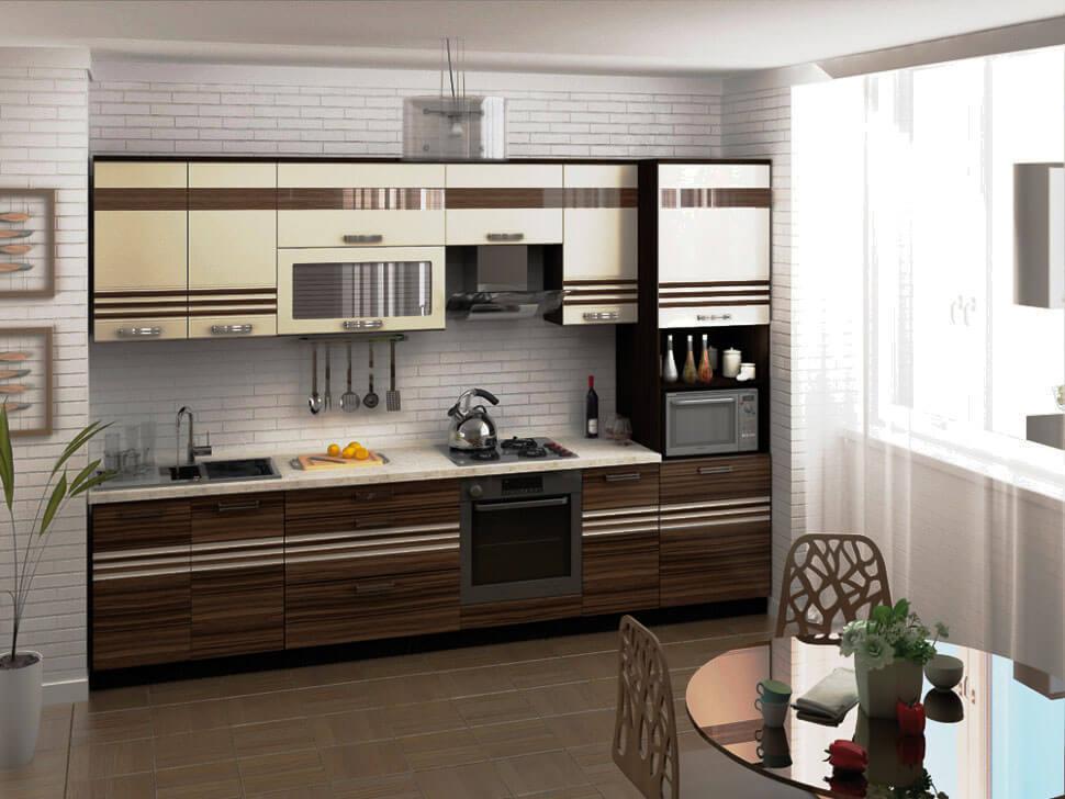 Кухонный гарнитур с комбинированным пеналом оснащенным распашными шкафами и нишей под технику