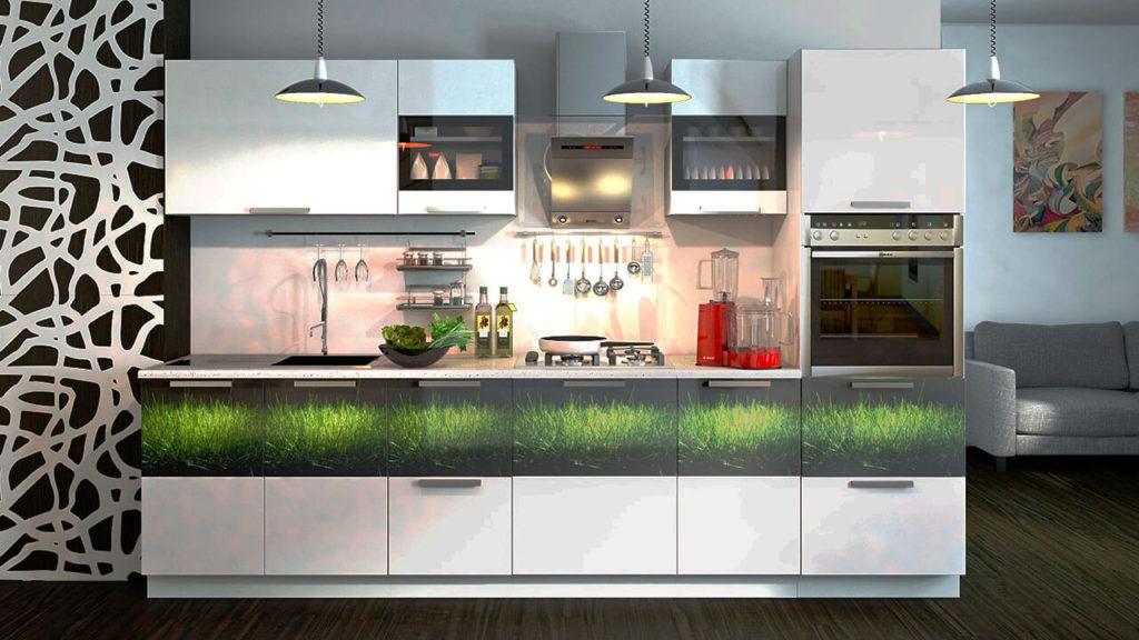 Кухонный гарнитур с боковым шкафом пеналом со встроенной духовкой