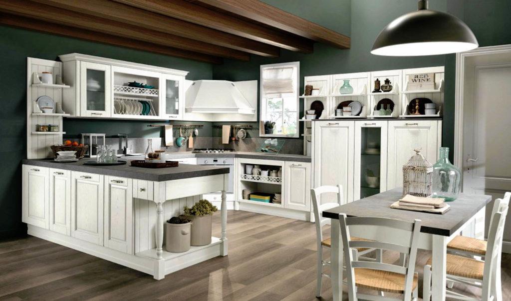 Кухня в классическом стиле с полуостровом