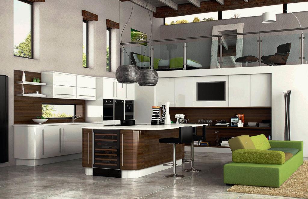 Современная просторная кухня со столешницами из искусственного камня