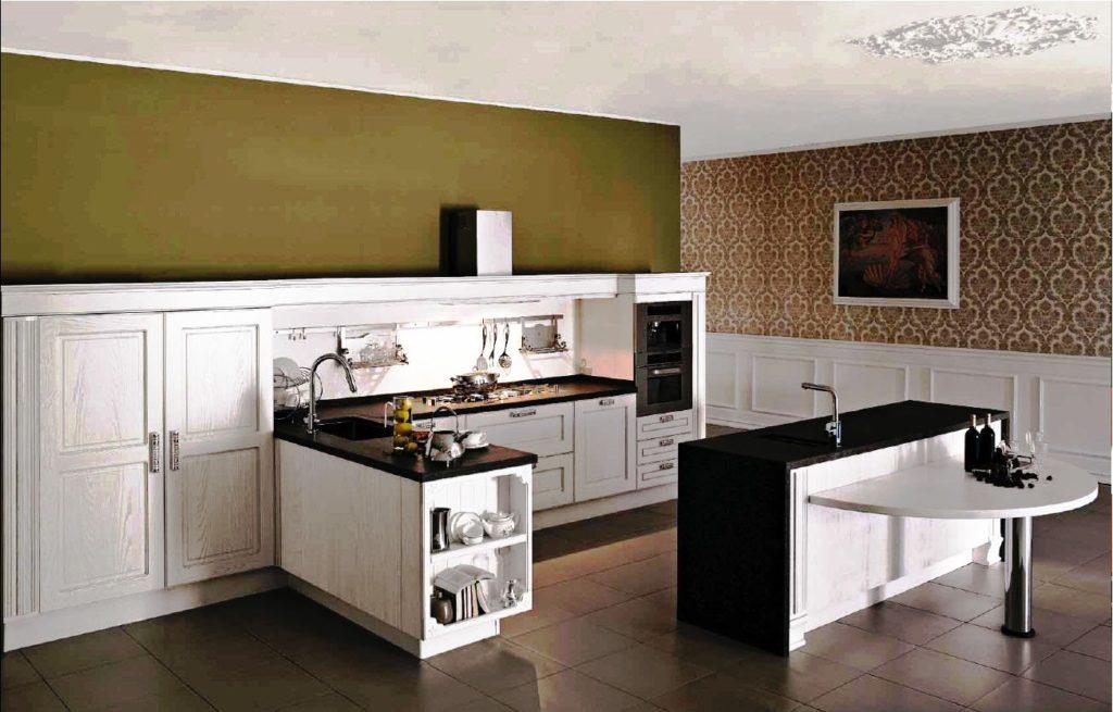 Фото кухонного гарнитура без верхнего ряда шкафов