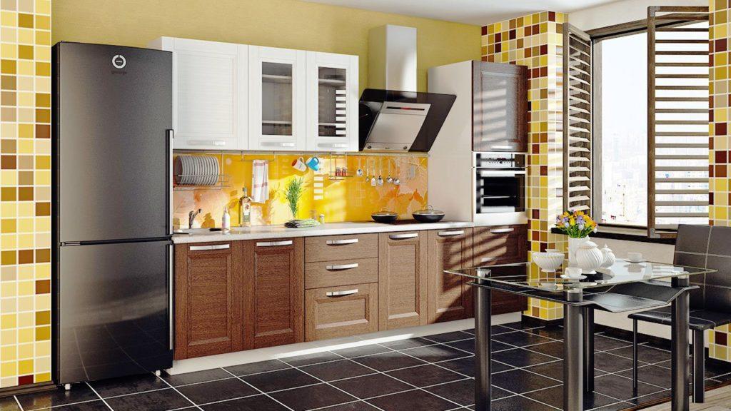 Кухонный гарнитур с комбинированными фасадами шкафов