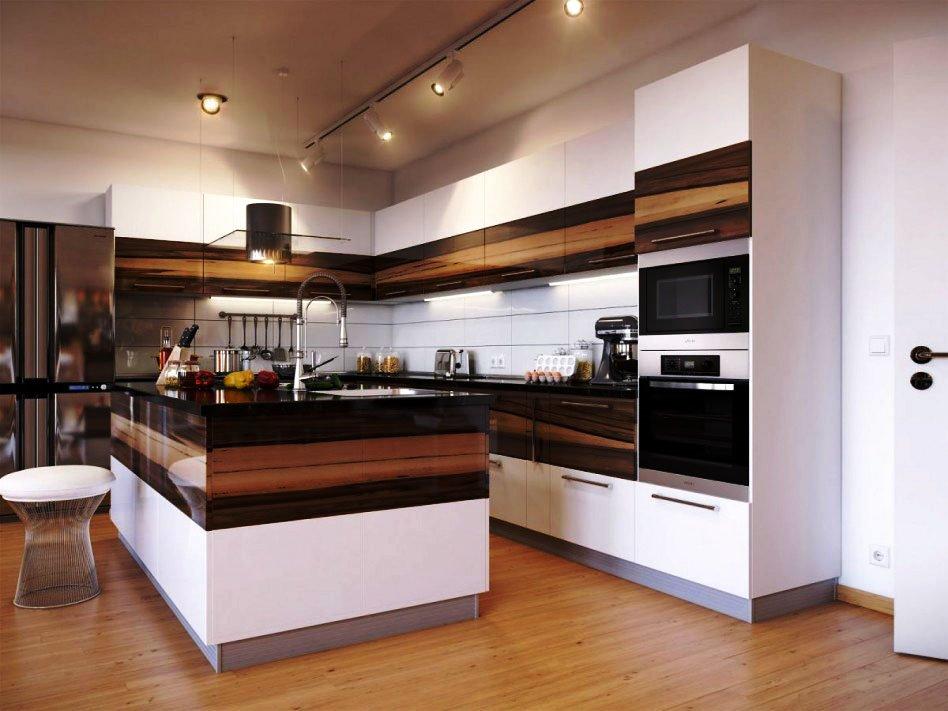 Фото кухни с пеналом со встроенной духовкой