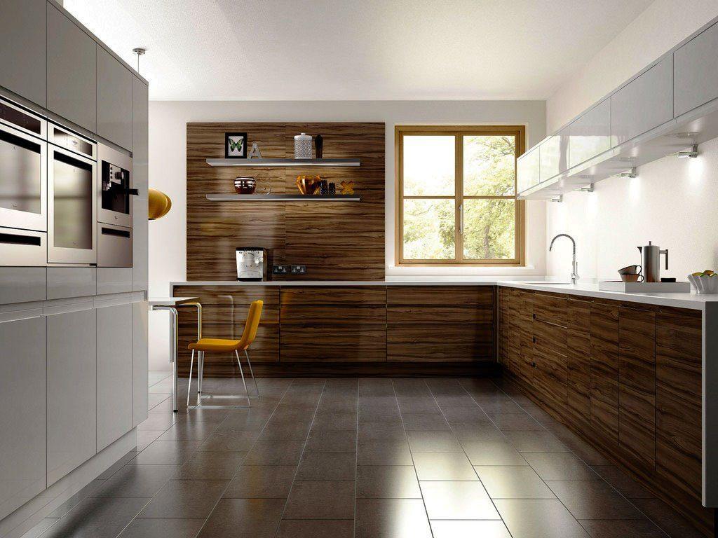Фото кухонного гарнитура с нижним рядом шкафов под дерево