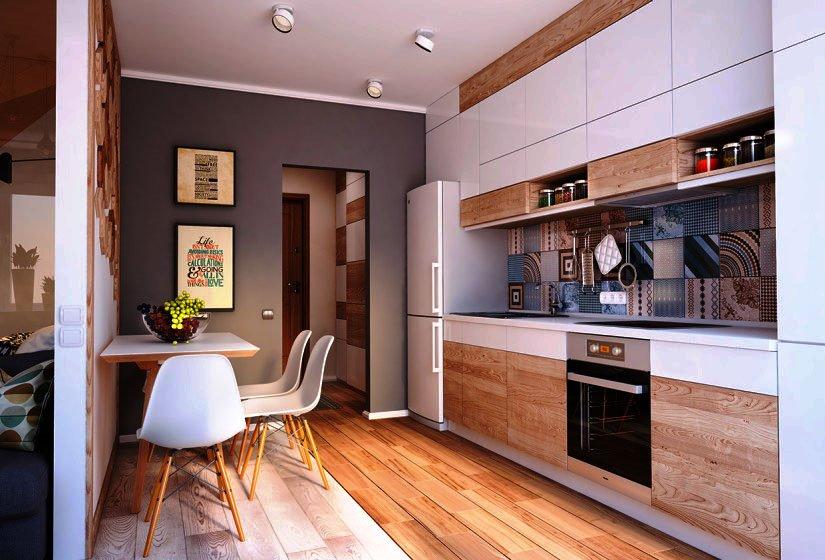 Фото кухонного гарнитура с верхним рядом шкафов до потолка