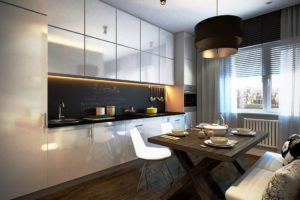 Фото кухонного гарнитура с навесными шкафами под потолок