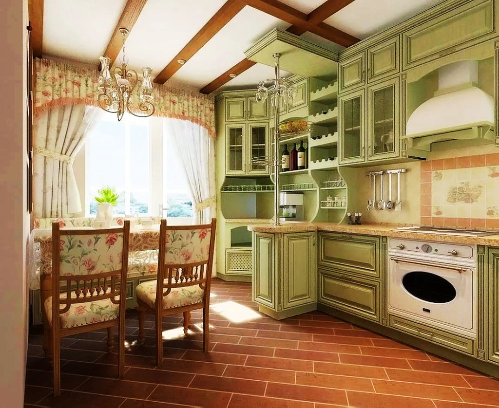 Классический интерьер кухни со шкафами до потолка