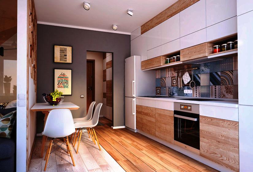 Линейный кухонный гарнитур в светлых тонах