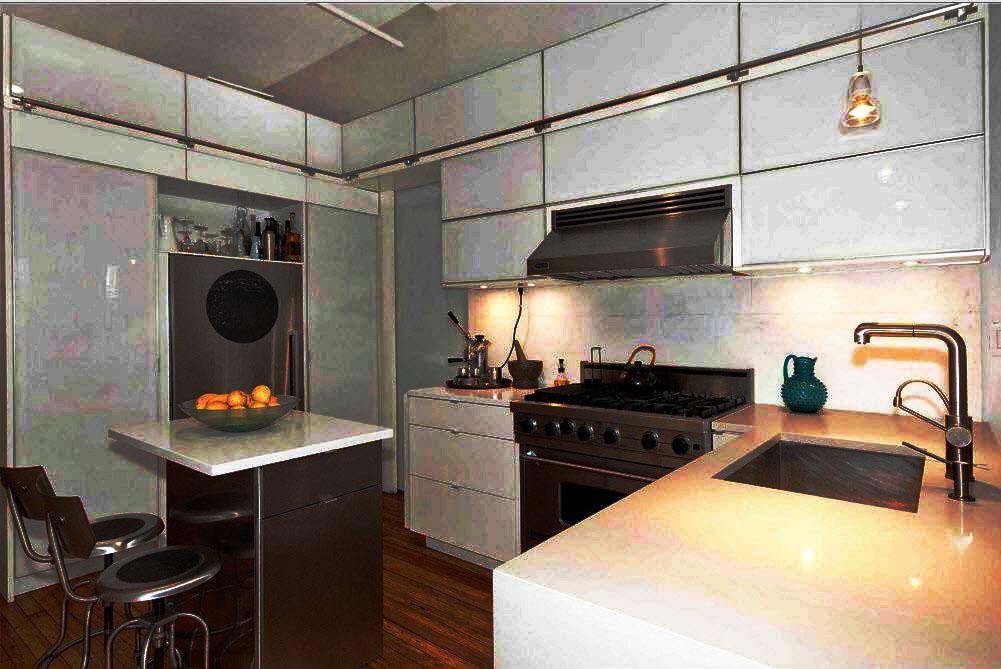 Интерьер современной кухни со шкафами под потолок