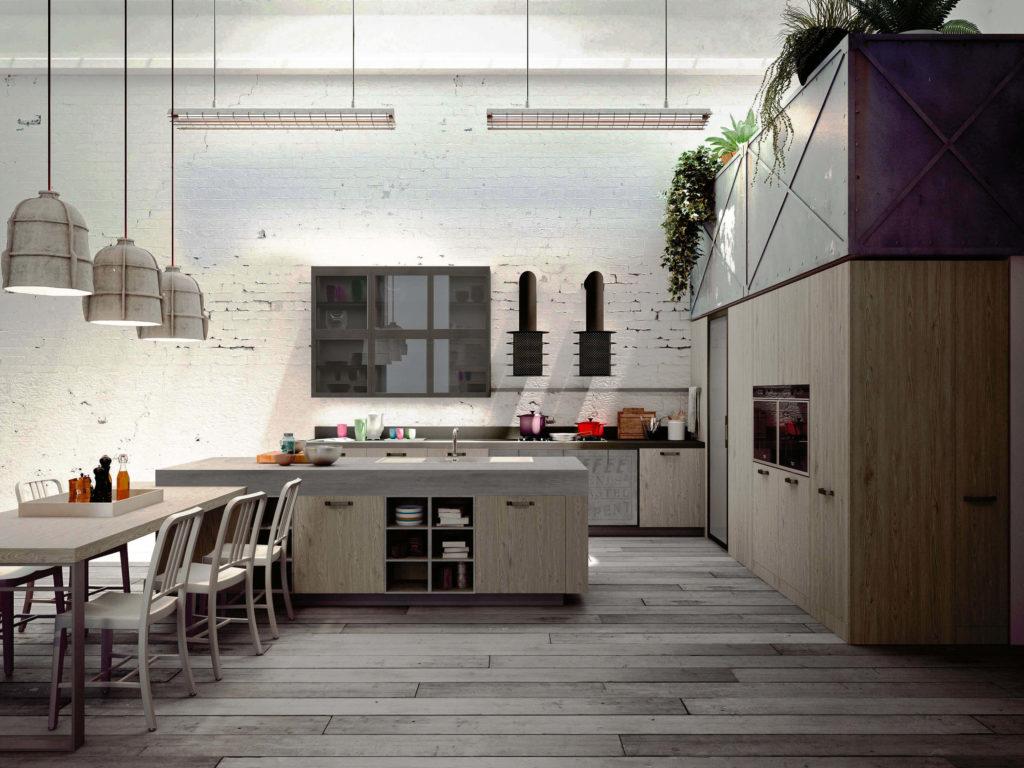 Необычный интерьер кухни в Лофт стиле с высокими напольными шкафами